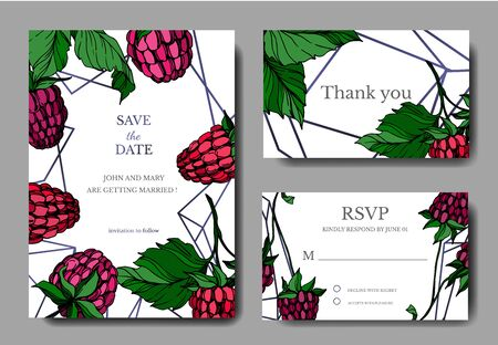 Vector Raspberry healthy food isolated. Black and white engraved ink art. Wedding background card decorative border.