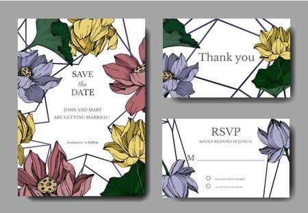 Vektor Lotus botanische Blumen. Schwarz-weiß gravierte Tinte Art.-Nr. Dekorative Grenze der Hochzeitshintergrundkarte. Vektorgrafik