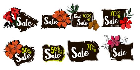 Vector sale tag with discount label. Promotion coupon retail collection banner.