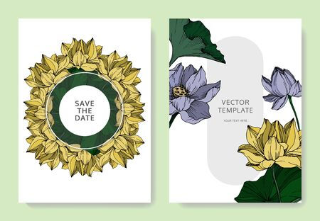 Vector Lotus floral botanical flowers. Black and white engraved ink art. Wedding background card decorative border. Çizim