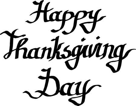 Calligraphie de monogramme d'écriture manuscrite de joyeux jour de Thanksgiving de vecteur. Art d'encre gravé noir et blanc isolé.