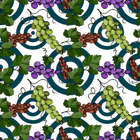 Grape berry healthy food. Black and white engraved ink art. Seamless background pattern.