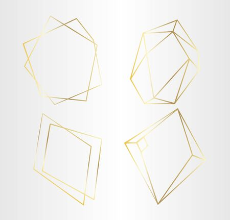 Vector set of luxury golden crystal shapes. Isolated illustration element. Isolated illustration element.