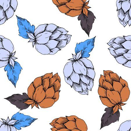 Vector. Black and white engraved humulus ink art. Green leaf. Leaf plant Stock Illustratie