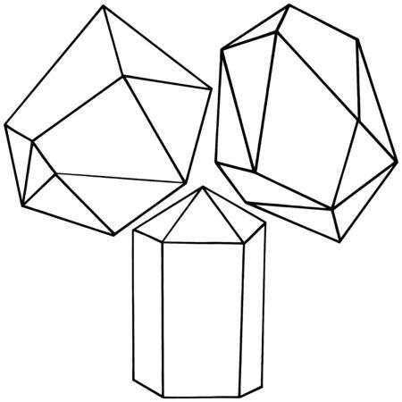 Vector geometric form. Isolated illustration element. Geometric quartz polygon crystal stone mosaic shape amethyst gem.