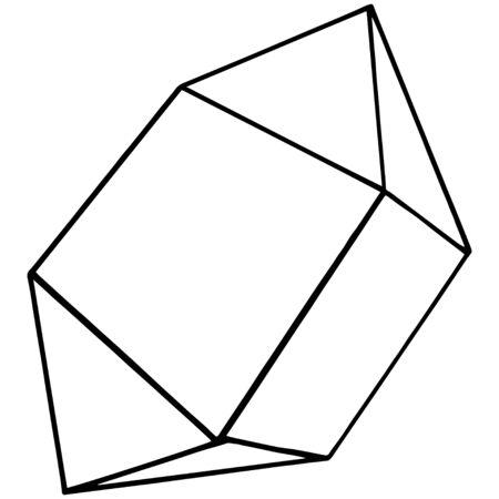 Vektor-Diamant-Felsen-Schmuck-Mineral. Isoliertes Abbildungselement. Geometrischer Quarz-Polygon-Kristallstein-Mosaik-Form-Amethyst-Edelstein. Schwarz-weiß gravierte Tinte Art.-Nr. Vektorgrafik