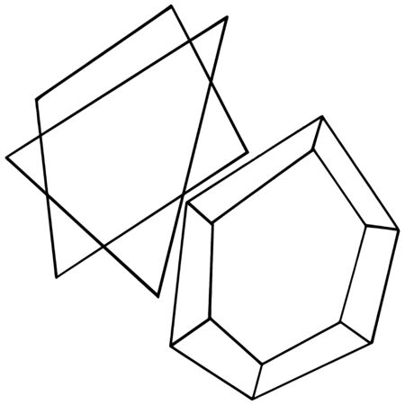 Vector diamond rock jewelry mineral. Isolated illustration element. Geometric quartz polygon crystal stone mosaic shape amethyst gem. Black and white engraved ink art.