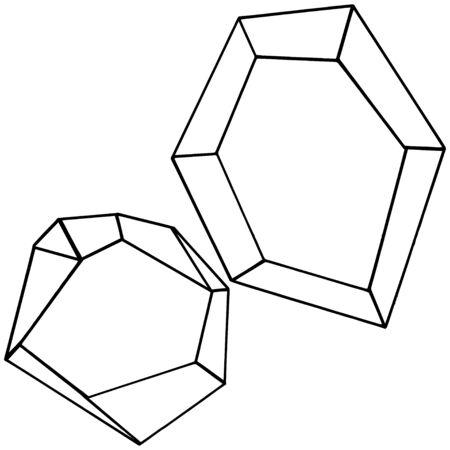Vector diamond rock jewelry mineral. Isolated illustration element. Geometric quartz polygon crystal stone mosaic shape amethyst gem. Black and white engraved ink art. 版權商用圖片 - 135719000