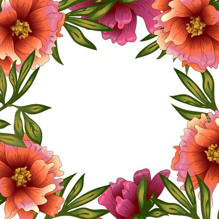Peony frame flowers in a vector style. 일러스트