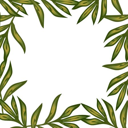 Peony frame leaves flowers in a vector style. Stock fotó - 133420373