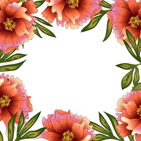 Peony frame flowers in a vector style. Stock fotó - 133420414