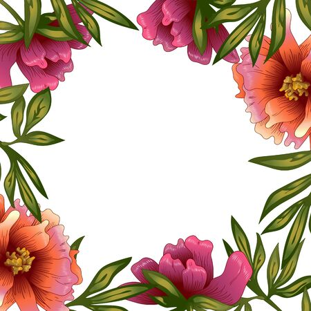 Peony frame flowers in a vector style. Ilustracja