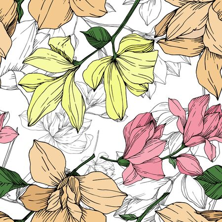 Vector Magnolia floral botanical flowers. Black and white engraved ink art. Seamless background pattern. Stock Illustratie