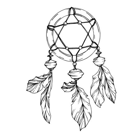 Vector Feather dreamcatcher. Black and white engraved ink art. Isolated dream catcher illustration element. Vector Illustration