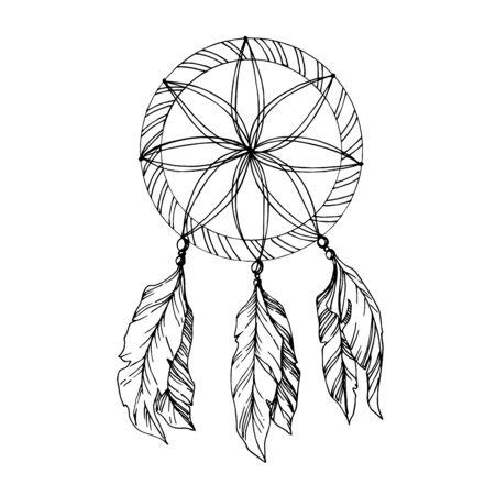 Atrapasueños de plumas de vector. Arte de tinta grabada en blanco y negro. Elemento de ilustración de atrapasueños aislado. Ilustración de vector
