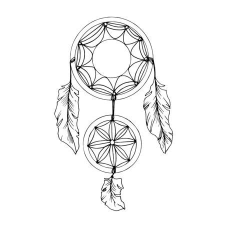 Atrapasueños Vector Fether. Arte de tinta grabada en blanco y negro. Elemento de ilustración de atrapasueños aislado.