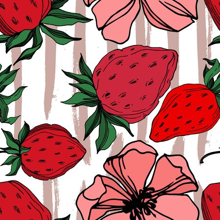 Vector strawberry fresh berry healthy food. Black and white engraved ink art. Seamless background pattern.
