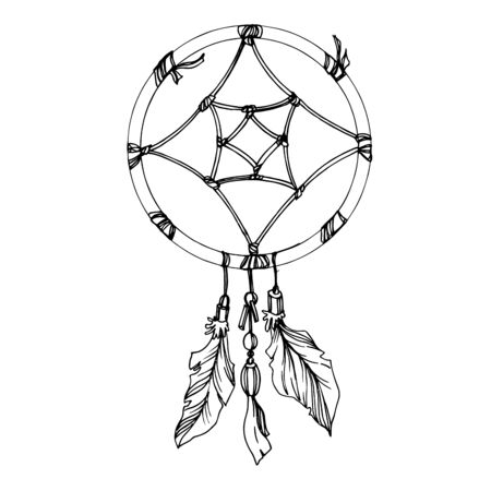 Vector Fether dreamcatcher. Black and white engraved ink art. Isolated dream catcher illustration element.