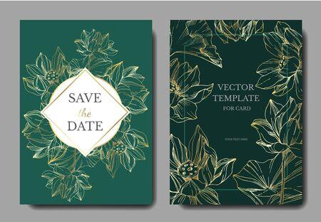 Vector Lotus floral botanical flowers. Black and white engraved ink art. Wedding background card decorative border. Illusztráció