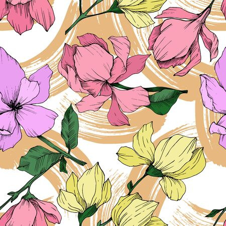 Vector Magnolia floral botanical flowers. Black and white engraved ink art. Seamless background pattern. Stock fotó - 134269096