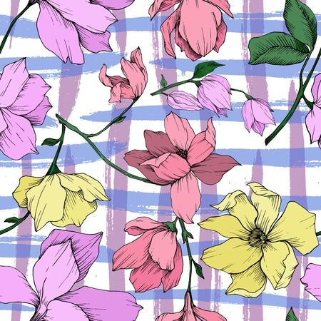 Vector Magnolia floral botanical flowers. Black and white engraved ink art. Seamless background pattern. Stock fotó - 134269098