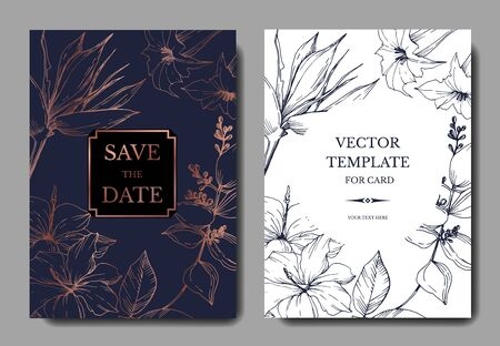 Vector Tropical flowers and leaves. Black and white engraved ink art. Wedding background card decorative border. Stock fotó - 134269102