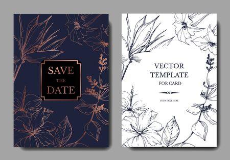 Vektor Tropische Blumen und Blätter. Schwarz-weiß gravierte Tinte Art.-Nr. Dekorative Grenze der Hochzeitshintergrundkarte.