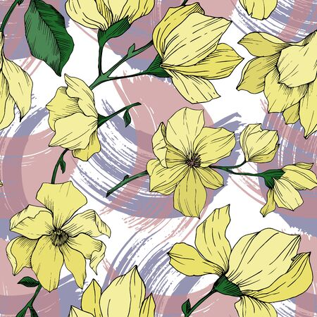 Vector Magnolia floral botanical flowers. Black and white engraved ink art. Seamless background pattern. Stock fotó - 134269119