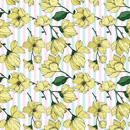Vector Magnolia floral botanical flowers. Black and white engraved ink art. Seamless background pattern. Stock fotó - 134269120