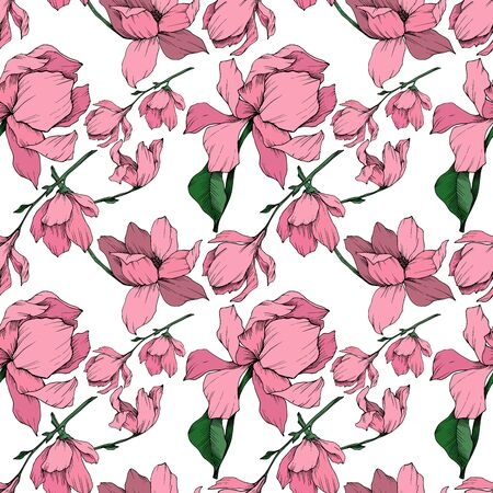 Vector Magnolia floral botanical flowers. Black and white engraved ink art. Seamless background pattern. Stock fotó - 134269130