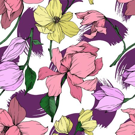 Vector Magnolia floral botanical flowers. Black and white engraved ink art. Seamless background pattern. Stock fotó - 134269134