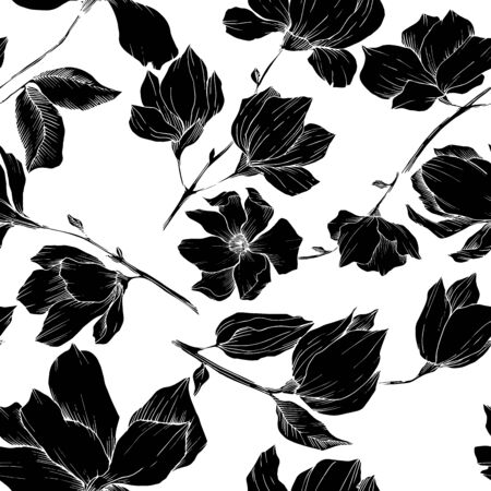 Vector Magnolia floral botanical flowers. Black and white engraved ink art. Seamless background pattern. Stock fotó - 134269143