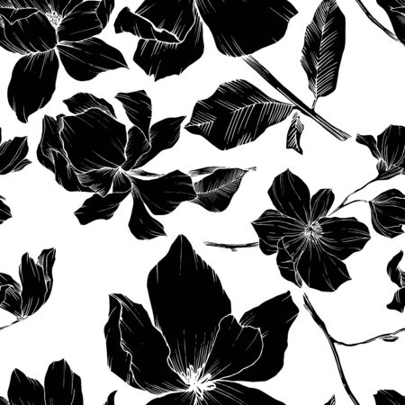 Vector Magnolia floral botanical flowers. Black and white engraved ink art. Seamless background pattern. Stock fotó - 134269146
