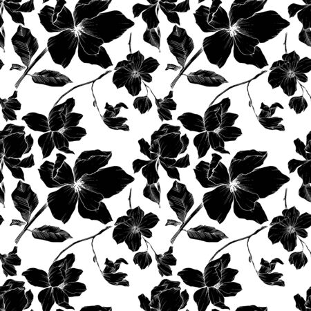 Vector Magnolia floral botanical flowers. Black and white engraved ink art. Seamless background pattern. Stock fotó - 134269148