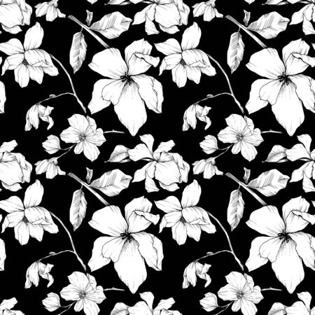 Vector Magnolia floral botanical flowers. Black and white engraved ink art. Seamless background pattern. Stock fotó - 134269150