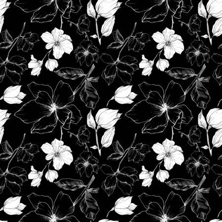 Vector Magnolia floral botanical flowers. Black and white engraved ink art. Seamless background pattern. Stock fotó - 134269161