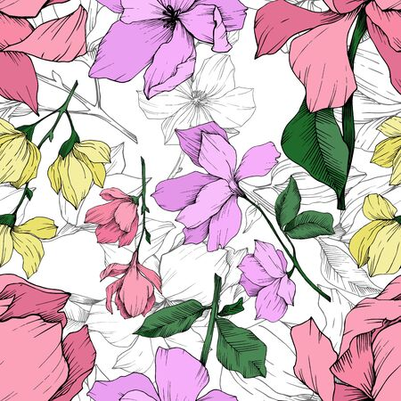 Vector Magnolia floral botanical flowers. Black and white engraved ink art. Seamless background pattern. Stock fotó - 134269164