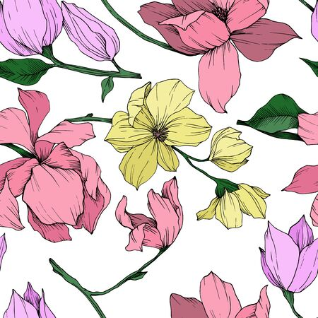 Vector Magnolia floral botanical flowers. Black and white engraved ink art. Seamless background pattern. Stock fotó - 134269172