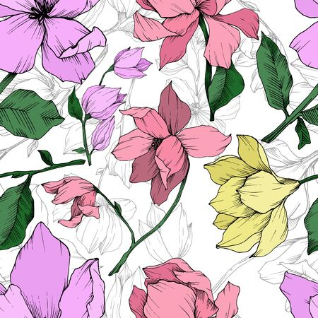 Vector Magnolia floral botanical flowers. Black and white engraved ink art. Seamless background pattern. Stock fotó - 134269178