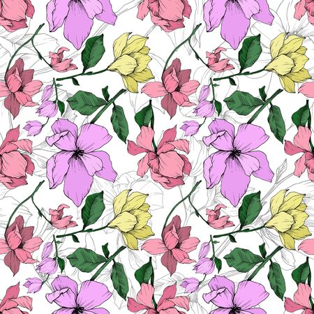 Vector Magnolia floral botanical flowers. Black and white engraved ink art. Seamless background pattern. Stock fotó - 134269179