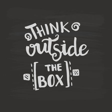 Think outside the box handwriting monogram calligraphy. Phrase poster graphic desing. Black and white engraved ink art. Illusztráció