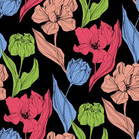 Vector Tulip engraved ink art. Floral botanical flower. Seamless background pattern. Fabric wallpaper print texture.