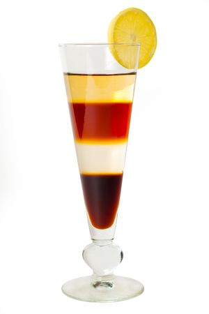 4 layered cocktail isolated on a white background photo