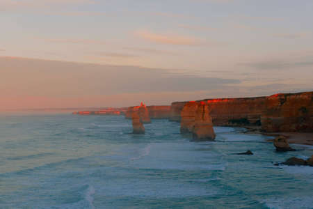 famous 12 Apostles rock formation in Australia at sunset photo