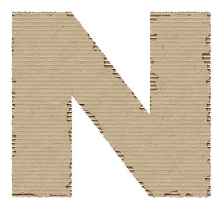 letter n: capital letter N made from torn cardboard
