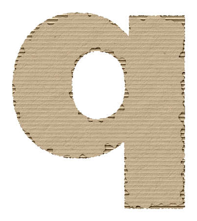 reusing: letter q made from torn cardboard
