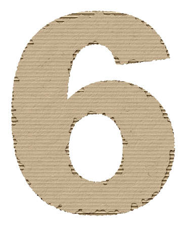 reusing: number 6 made from torn cardboard