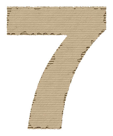 reusing: number 7 made from torn cardboard Stock Photo