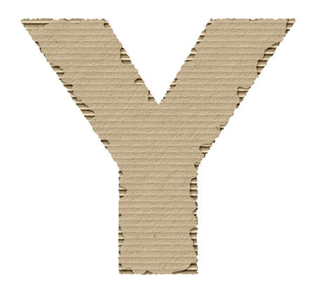 reusing: capital letter Y made from torn cardboard