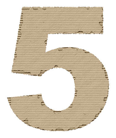 reusing: number 5 made from torn cardboard